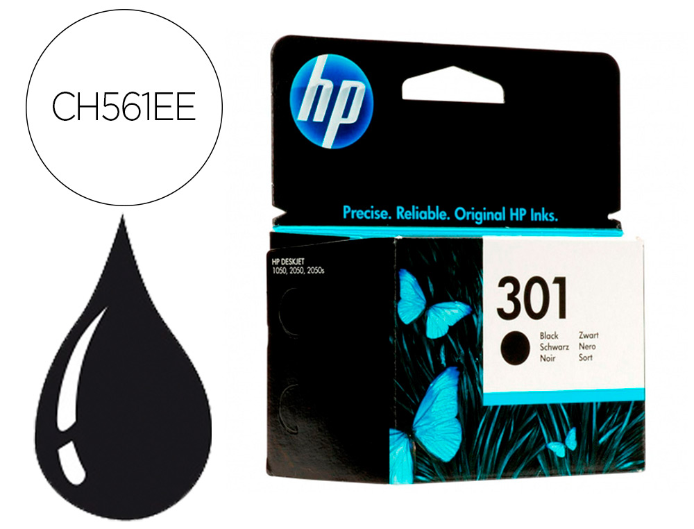 INK-JET HP N.301 NEGRO DESKJET/ 1050/ 2540/ 3050 ENVY 4500 5530 OFFICEJET 2620 4630